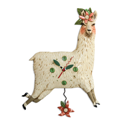 Allen Designs Llama Love Pendulum Wall Clock Battery Operated