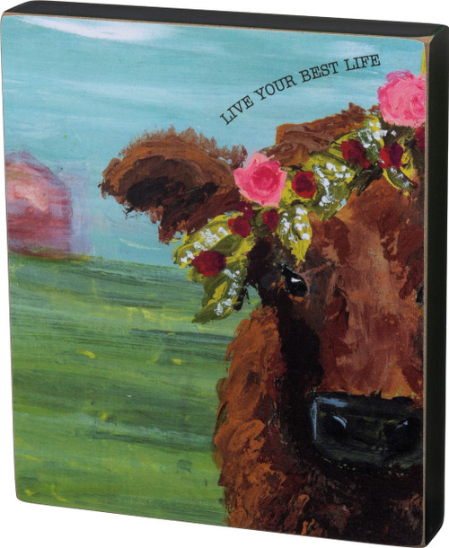 Primitives by Kathy Live Your Best Life Farm Cow Wood Block Sign 7 Inches