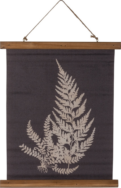 Primitives by Kathy Rooted Fern Painted Botanical Canvas Wall Plaque 19.5 Inches