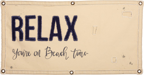 Primitives by Kathy Relax You're On Beach Time Canvas Wall Banner 40 Inches