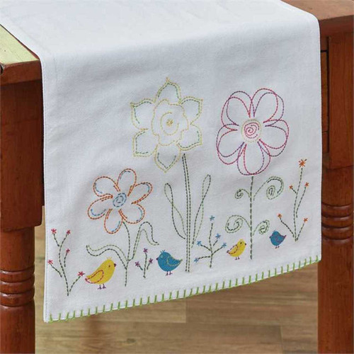 Park Designs Spring Flowers Chicks Bluebirds Embroidered Table Runner 42 Inches