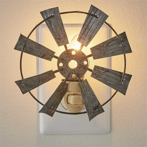 Windmill Night Light 7 Watt Electric Metal Farmhouse Decor