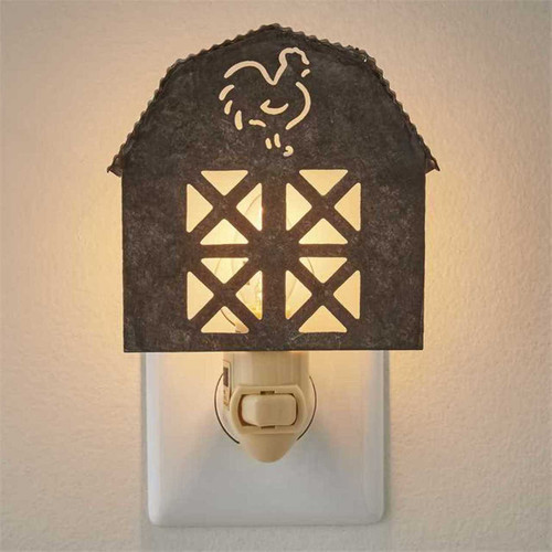 Barn Shaped Night Light Galvanized 7 Watt Electric Farmhouse Decor
