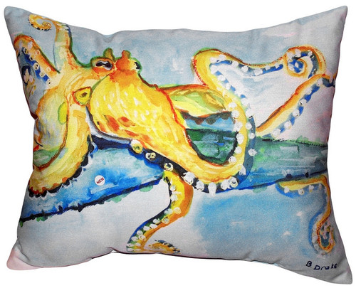 Betsy Drake Golden Octopus Accent Throw Pillow Indoor Outdoor 18 X 18 Inches