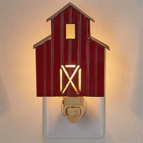 Park Designs Red Barn Night Light Electric Metal Farmhouse Decor