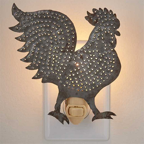 Park Designs Farmhouse Rooster Night Light Punched Metal Electric