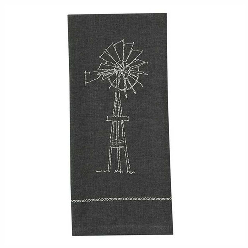 Park Designs Windmill Embroidered Kitchen Dish Towel Gray
