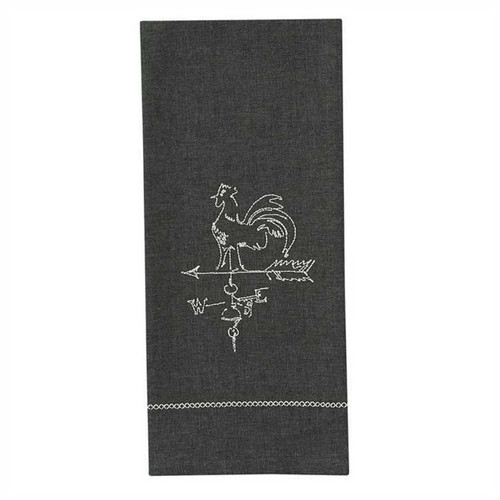 Park Designs Rooster Weathervane Embroidered Kitchen Dish Towel Gray