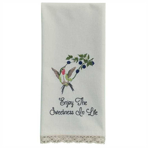 Park Designs Enjoy the Sweetness Hummingbird Embroidered Kitchen Dish Towel