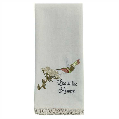 Park Designs Live in the Moment Hummingbird Embroidered Kitchen Dish Towel