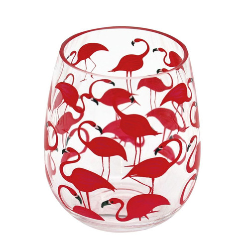 Dennis East Flock of Pink Flamingos Stemless Wine Glass Shatter Resist Plastic