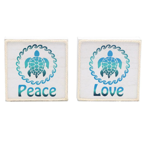Dennis East Sea Turtles Peace Love Wood Box Signs Set of 2