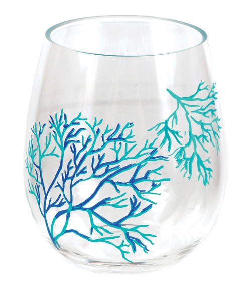 Dennis East Coral Stemless Acrylic Wine Glass 18 Ounces Teal and Blue
