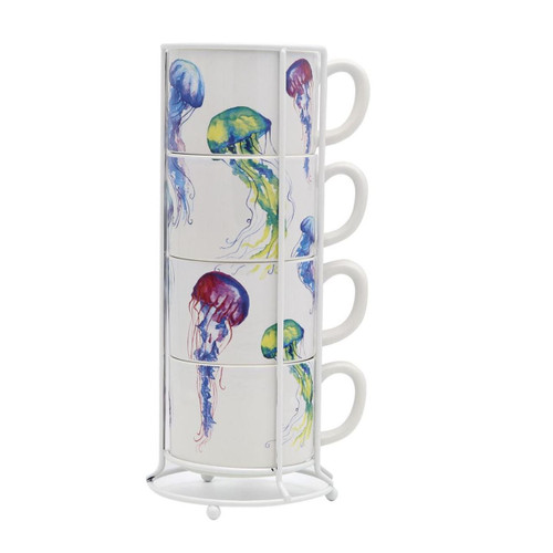 Dennis East Jellyfish Stacking Mugs Set  of 4 with Wire Rack Ceramic