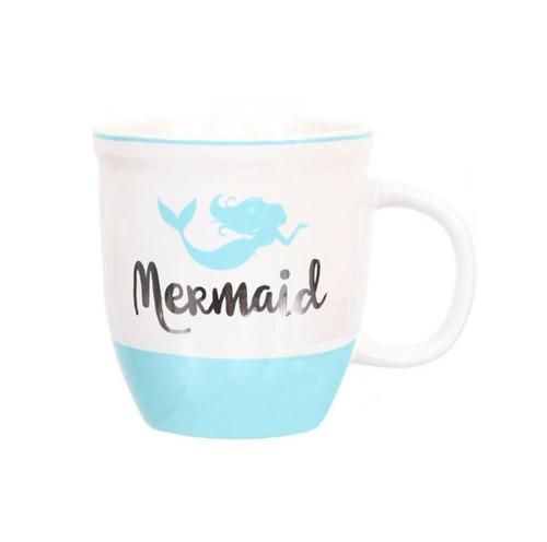 Dennis East Mermaid Mug Stoneware 18 Ounces Blue and White