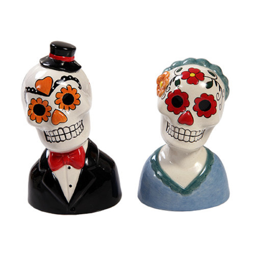 Day of the Dead Couple Man and Woman Ceramic Salt and Pepper Shakers