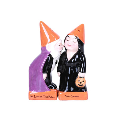 Halloween Gnomes Love at First Bite Ceramic Salt and Pepper Shakers Magnetic