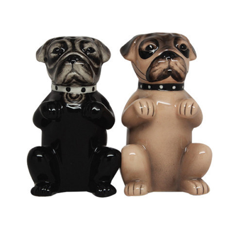 Pug Dogs Black and Brown Salt and Pepper Shakers Magnetic Ceramic