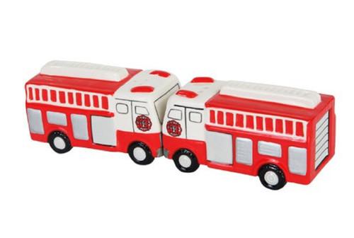 Fire Engines Ladder Trucks Salt and Pepper Shakers Magnetic Ceramic