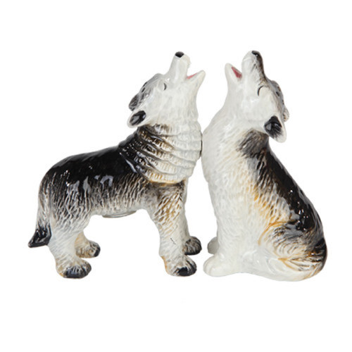 Howling Wolves Salt and Pepper Shakers Magnetic Ceramic