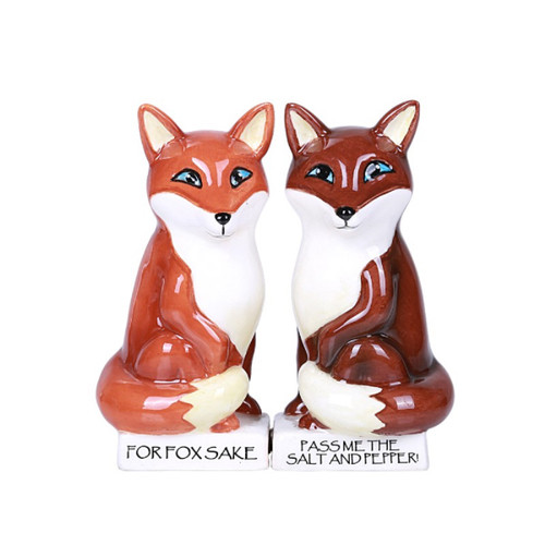 For Fox Sake Foxes Ceramic Salt and Pepper Shakers Magnetic