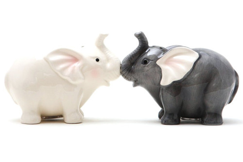Elephants Gray and White Salt and Pepper Shakers Magnetic Ceramic