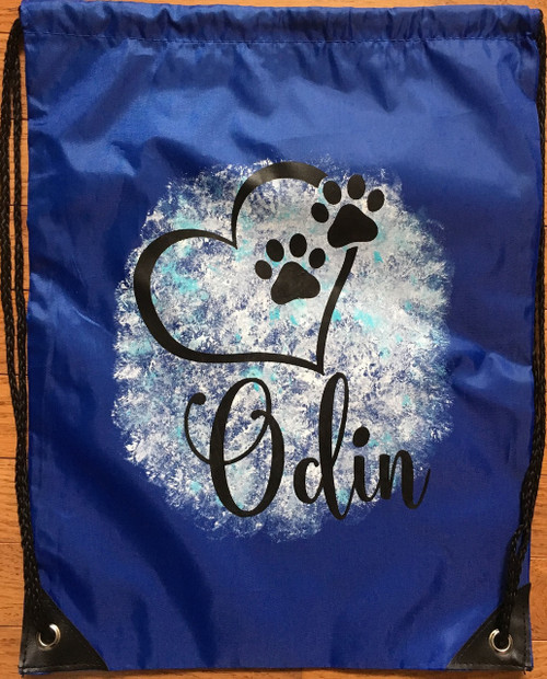 Personalize It Dog Puppy Blue Cinch Sack Backpack Travel Bag Drawstring Tote