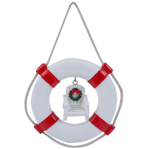 Life Ring with Beach Chair Christmas Holiday Ornament Red and White Resin