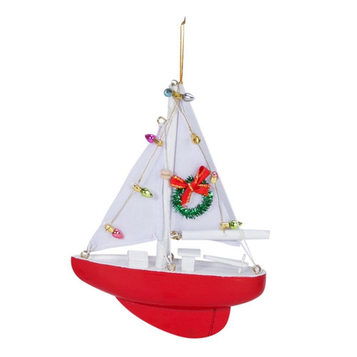 Beachcombers Red Sailboat Decorated for Christmas Holiday Ornament Wood