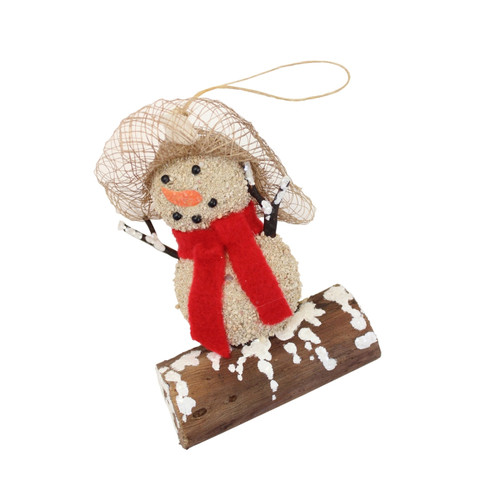 Beachcombers Sandman Snowman with Red Scarf Christmas Holiday Ornament Wood