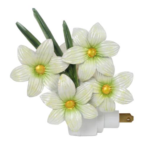 Plumeria Tropical White Flowers Night Light Electric Capiz Shell Metal 7 Watt