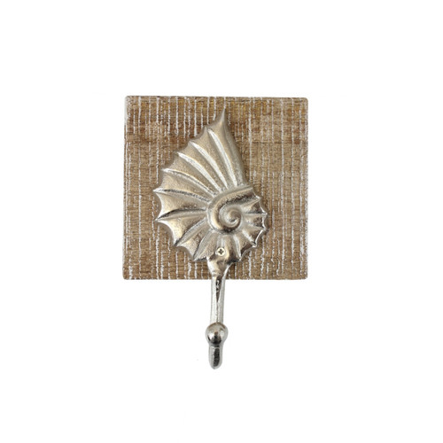 Beachcombers Seashell Single Wall Hook Wood and Metal 7 Inches