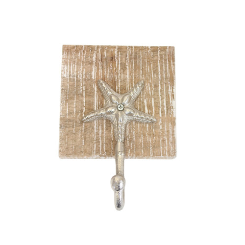Beachcombers Starfish Single Wall Hook Wood and Metal 7 Inches