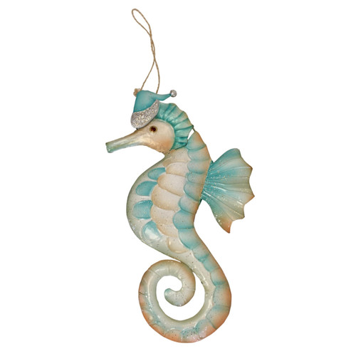Beachcombers Seahorse with Santa Hat Christmas Holiday Ornament Metal 8.5 Inches