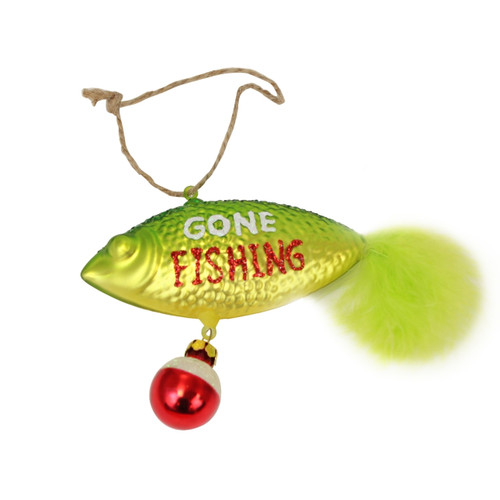 Beachcombers Gone Fishing Green Lure Christmas Holiday Ornament Blown Glass