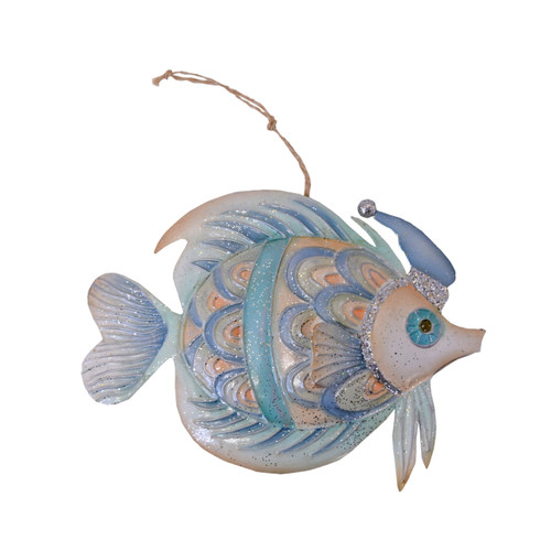 Seaside Fish With Santa Hat Christmas Holiday Ornament Metal 6.75 Inches