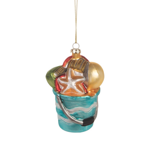 Beach Pail Filled with Shells Christmas Holiday Ornament Glass 4 Inches