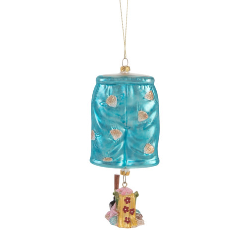 Beachcombers Mens Bathing Suit Board Shorts Christmas Holiday Ornament Glass