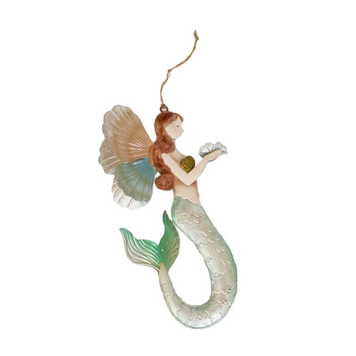 Angel Mermaid with Wings Christmas Holiday Ornament Metal 7.75 Inches