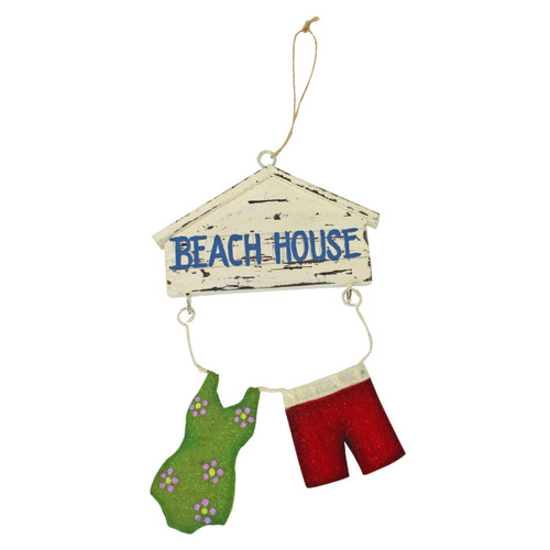 Beachcombers Beach House Swimsuit and Trunks Christmas Ornament Wood and Metal