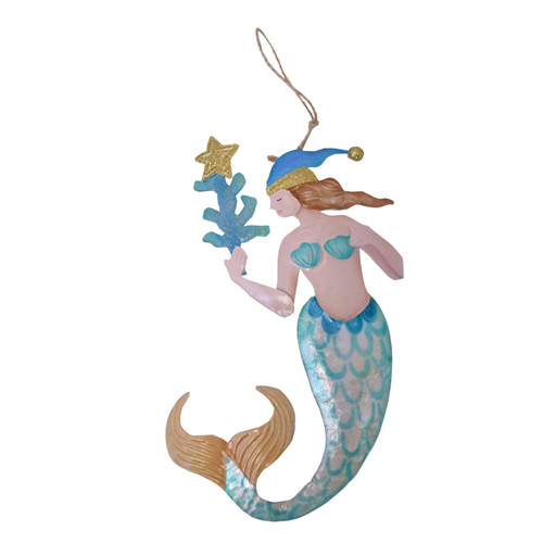 Beachcombers Mermaid with Coral Christmas Holiday Ornament Metal 8 Inches