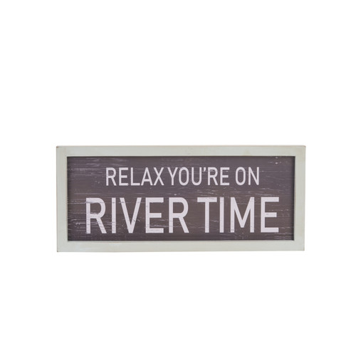Beachcombers Relax You're On River Time Wood Wall Plaque 14 Inches