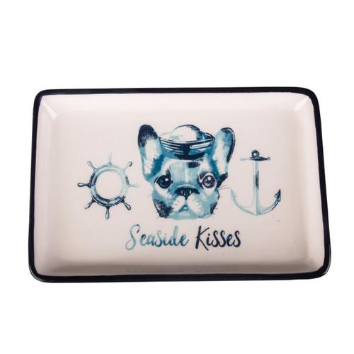Beachcombers Sailor Dog Seaside Kisses Trinket Dish Ceramic 6 Inches
