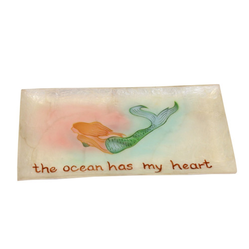 Beachcombers Mermaid The Ocean Has My Heart Capiz Trinket Tray 7.25 Inches