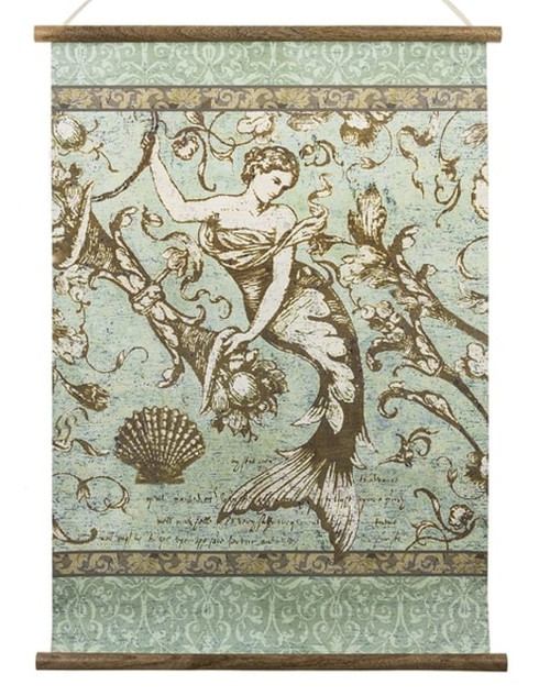 Midwest CBK Mermaid Scroll Art Wood and Paper Teal Wall Decor 24 Inches