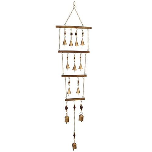 Midwest CBK Tiered Windchimes with Beads and Golden Bells Iron