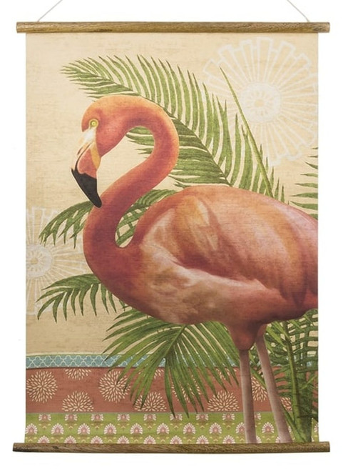Midwest CBK Pink Flamnigo and Palms Scroll Art Wood Paper Wall Decor 24 Inches