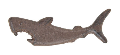 Shark with Mouth Open Bottle Opener Handheld Cast Iron Brown