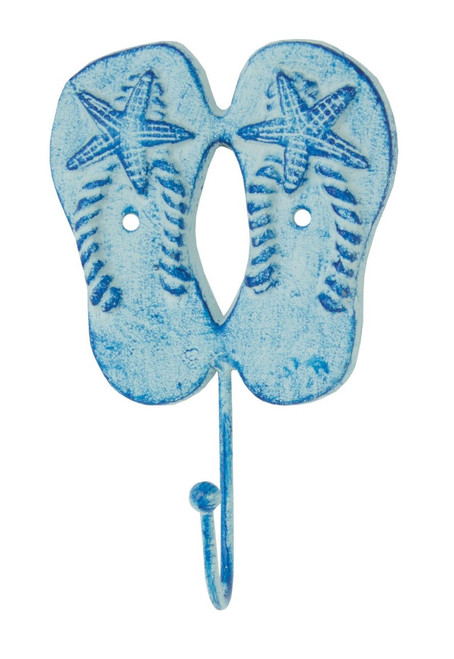 Flip Flops with Starfish Single Wall Hook Blue Cast Iron