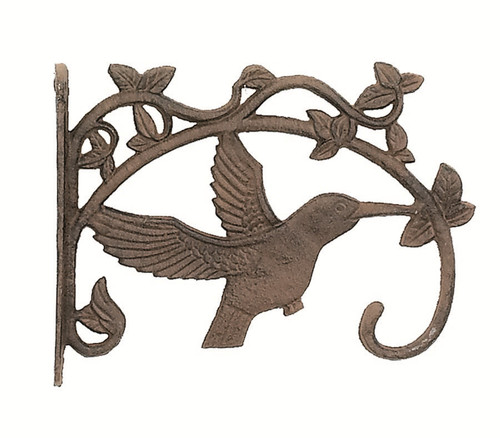 Hummingbird and Climbing Leaf Design Plant Holder Hook Wall Mount Cast Iron